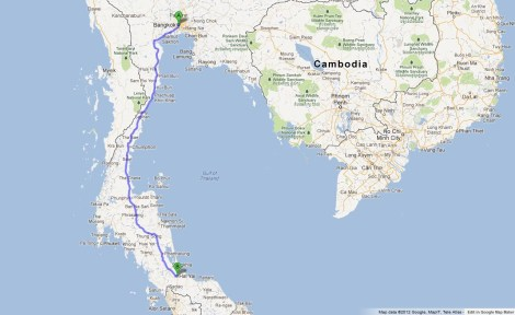 Bangkok to Hat Yai, 934km Journey