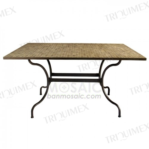 Wrought iron and granite mosaic dining table