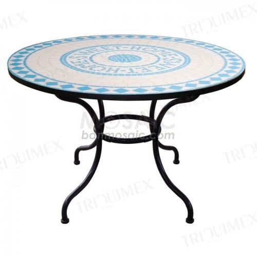 Beautiful Round Mosaic Table with Custom Logo