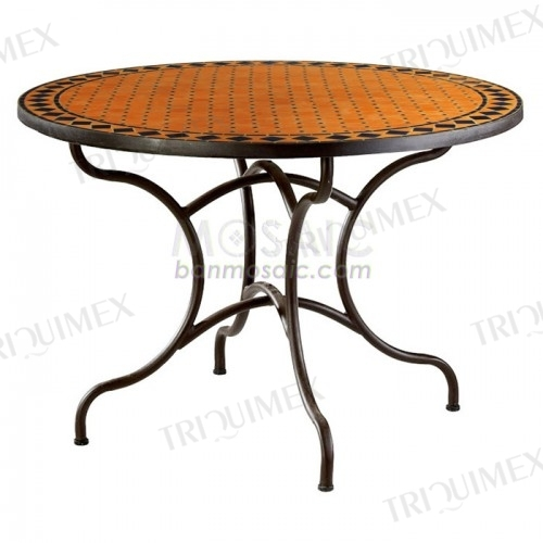 Round Terracotta Mosaic Dining Table with Catchy Design