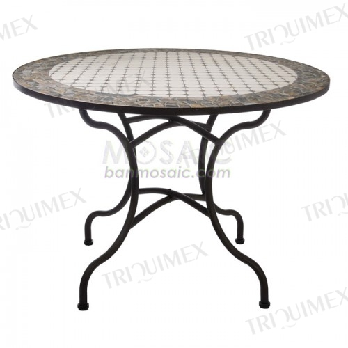 Round Wrought Iron Dining Table with Mosaic Top
