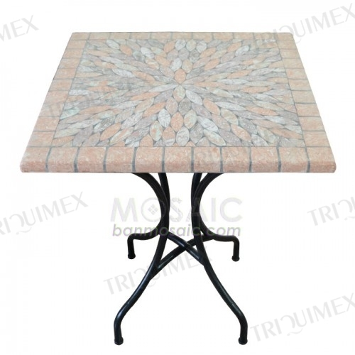Square Mosaic Outdoor Bistro Table with Wrought Iron Base