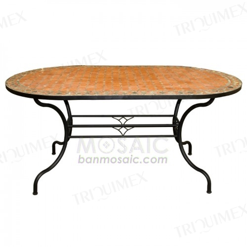 Oval Terracotta Mosaic Table with Wrought Iron Base