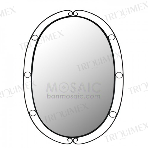 This wrought iron wall mirror frame is oval and has a versatile design that can be hung in bathroom or living room