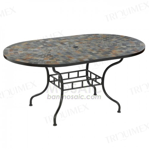 Oval Patio Dining Table with Umbrella Hole