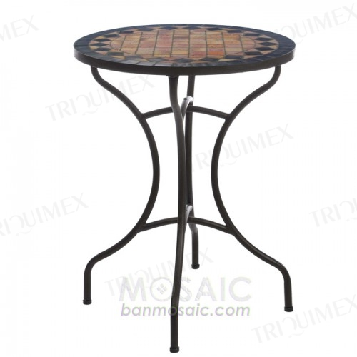 Round Mosaic Bistro Table with Rustic Look
