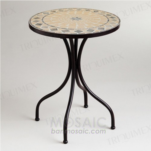 Round Garden Bistro Table Wrought Iron Base