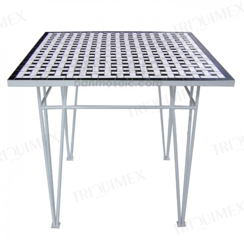 Square Mosaic Outdoor Table Wrought Iron Base