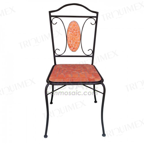 Wrought Iron and Terracotta Mosaic Bistro Chair