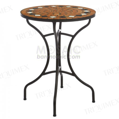 Round Garden Bistro Table Wrought Iron Base