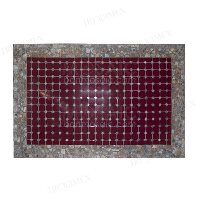 Rectangular Mosaic Dining Table with Box Iron Frame
