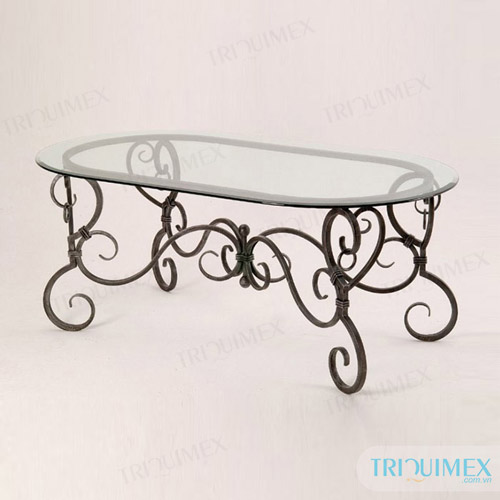 Oval wrought iron and glass dining table