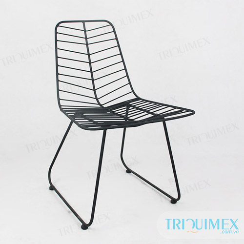 GH-135 powder coated wrought iron fishbone chair