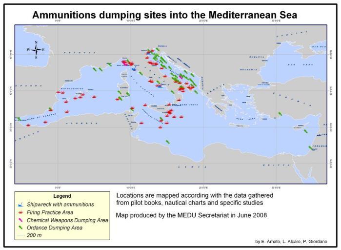 Karta odbačenog oružja na Sredozemlju - izvor UN