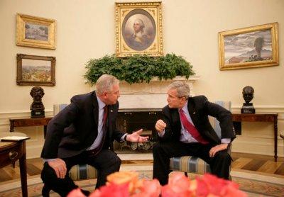 Mister Sanader i mister Bush u vrijeme dok bivši čelnik HDZ-a nije bio u zatvoru