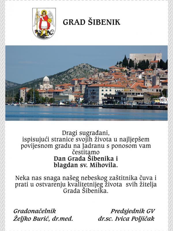 Grad Šibenik: Čestitamo Dan Grada Šibenika i blagdan sv. Mihovila