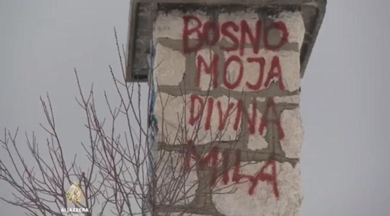 Nqtpis na zgradi porušene postaje žičare na Trebeviću (foto printscreen Al Jazeera)