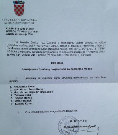 Skandalozna odluka: Ministar Hasanbegović bez obrazloženja razriješio Stručno povjerenstvo za neprofitne medije (N1)
