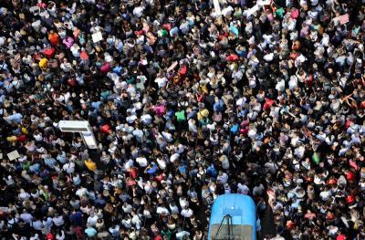 Prosvjed, a ne čekanje tramvaja (foto HINA/Lana Slivar Dominić)