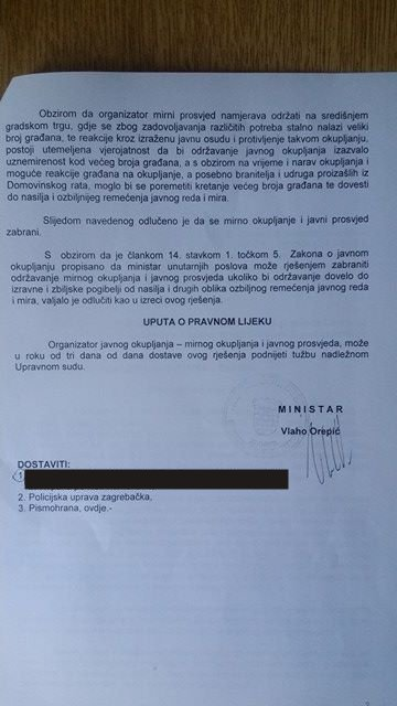 MUP zabranio održavanje antiratnog prosvjeda