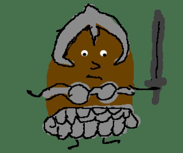 Krumpir s mačem (ilustracija) www.drawception.com