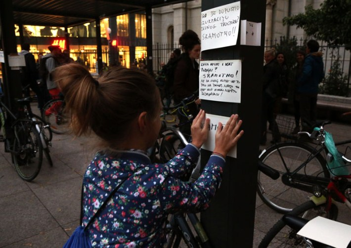 Zagreb: Prosvjed protiv postavljanja velike terase na Trgu Petra