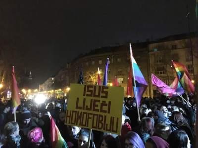 Prosvjed na Trgu žrtava fašizma (Foto: FB)