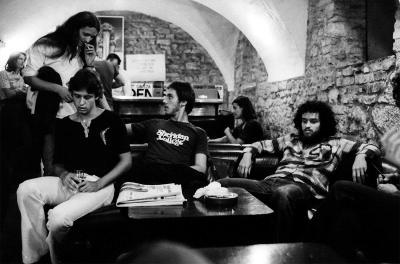 U Lapidariju sjede Zoran Franičević, Sven Semenčić i Davor Slamnig- foto: Goran Pavelić Pipo