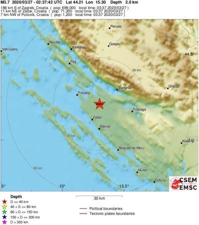 Slab potres kod Zadra u 3.37 sati