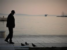 Jedan čovjek i tri goluba (foto TRIS/G. Šimac)