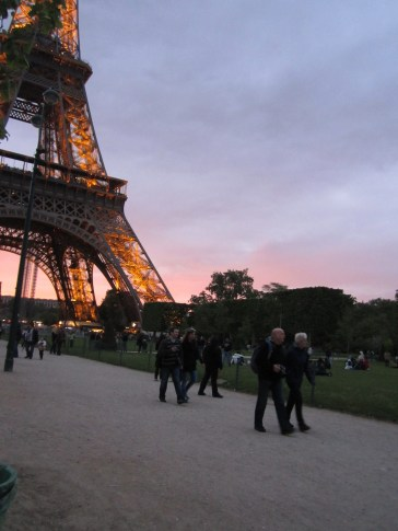 The Eiffel Tower at sunset.