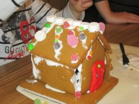 The gingerbread house we built... Shortly before it collapsed.