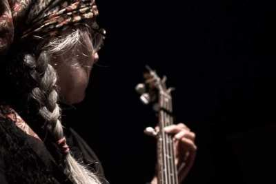 Trisha playing during performance of Jarpteetza/Firebird