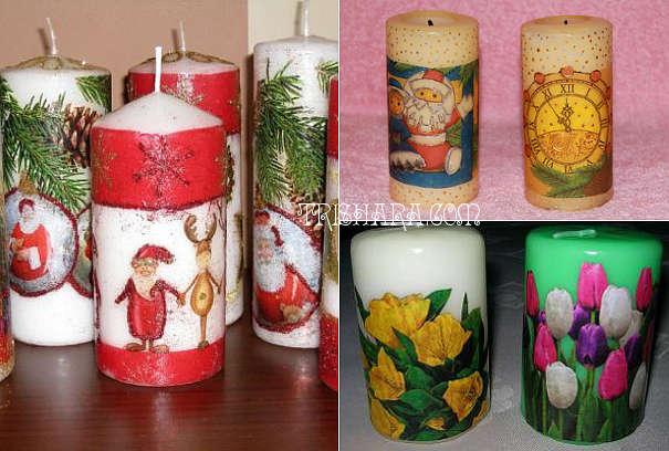 dekupazh-svechi Новогодние свечи 2019 своими руками: техники изготовления, декупаж, фото вариантов декора свечей