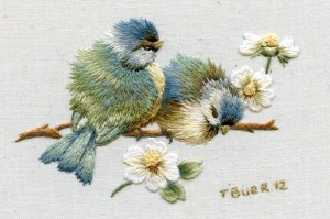 Miniature vintage Bluebirds and daisies