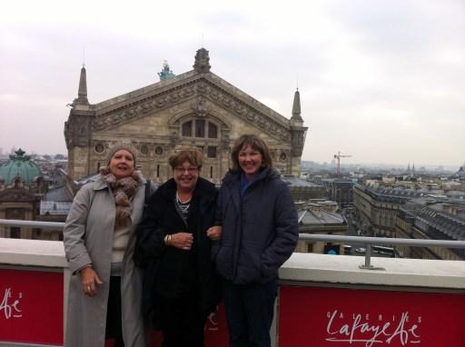 Hazel, Di & I on rooftop of Galeries Lafayette