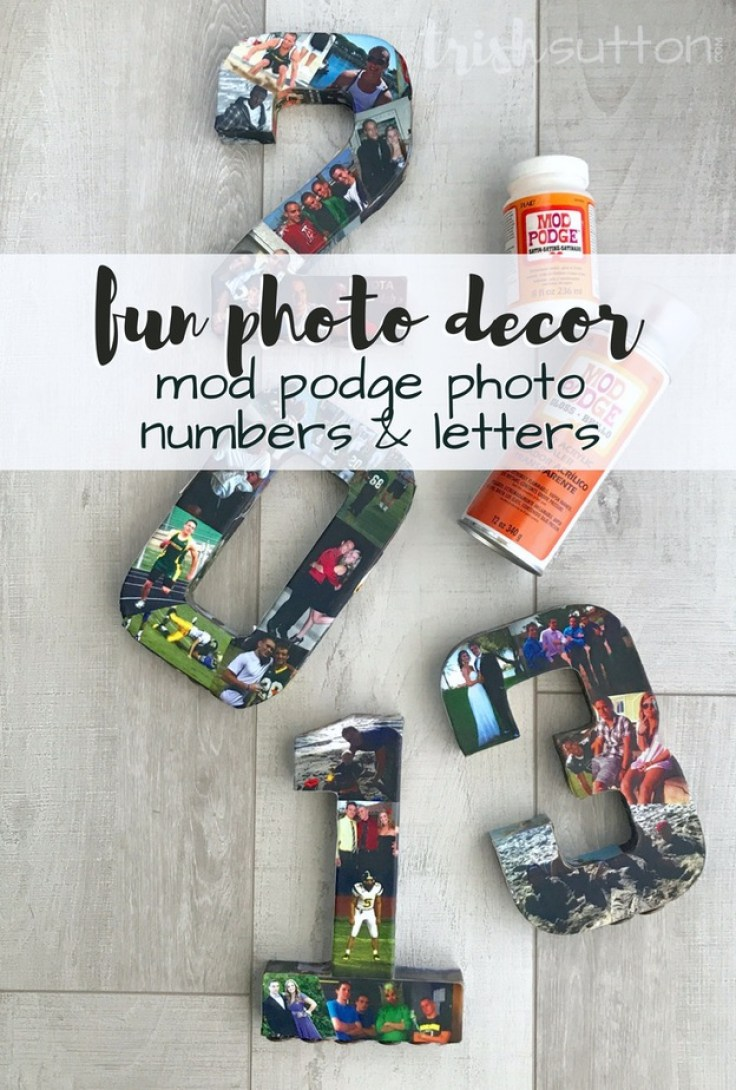 Party Décor * Mod Podge Numbers or Letters make great party decor for Graduation parties, Birthday parties, Anniversaries, Mother's & Father's Day. TrishSutton.com