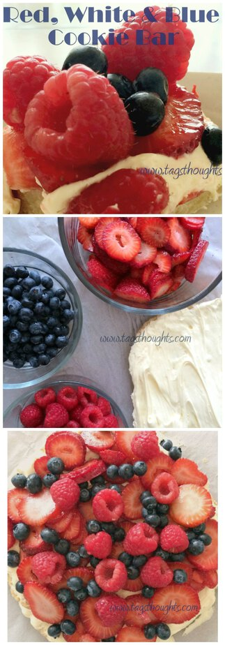 Red, White & Blue Fresh Fruit Cookie Bar. A dessert for Memorial Day, Flag Day, Summer BBQs & Independence Day. TrishSutton.com