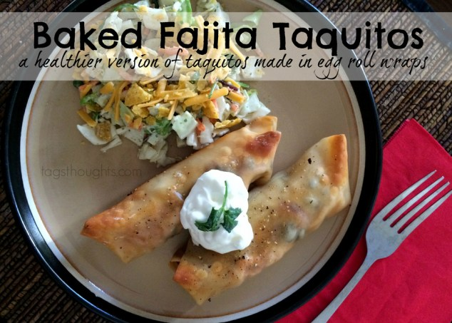 Baked Fajita Taquitos (in Egg Roll Wraps) by trishsutton.com