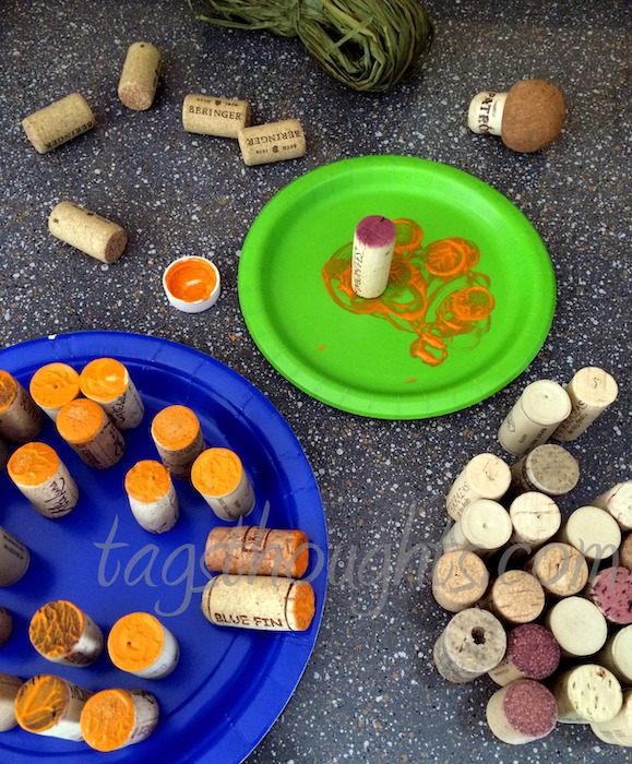 wine corks with orange paint