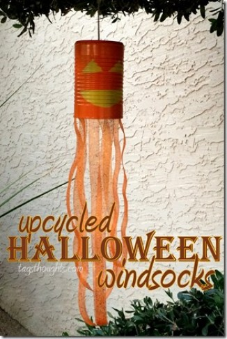 Upcycled Halloween Windsocks; Ghosts, Spiders, Jack-O-Lanterns trishsutton.com