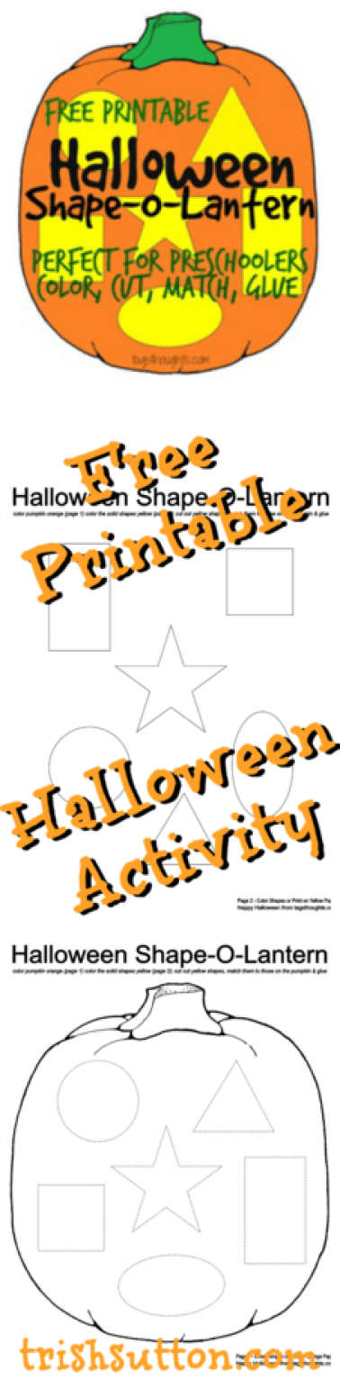 Halloween Shape-O-Lantern; Free Printable. An activity for Preschool & Elementary children. Coloring, cutting, matching & gluing. TrishSutton.com