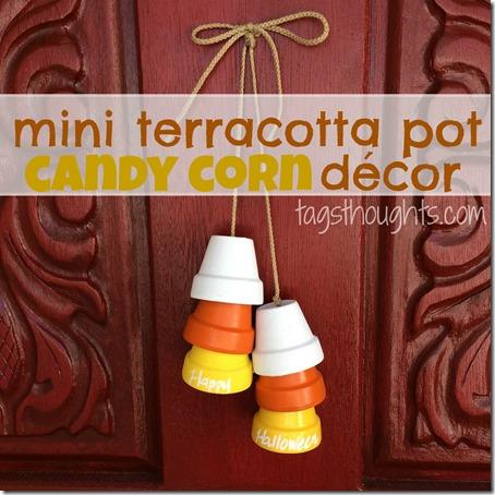 Mini Terracotta Pot Candy Corn Decor by TrishSutton.com