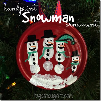 Handprint Snowman Ornament by trishsutton.com