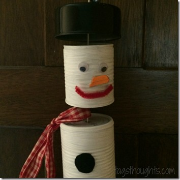 Upcycled Can Snowman by TrishSutton.com