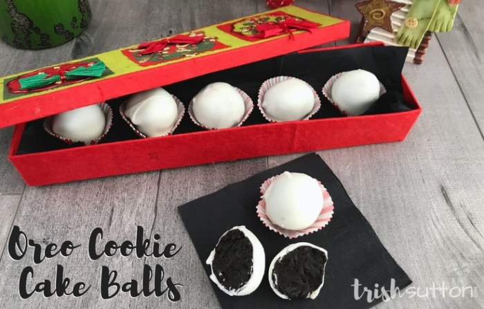 Muddy Snowballs! Oreo Cookie Cake Balls; TrishSutton.com