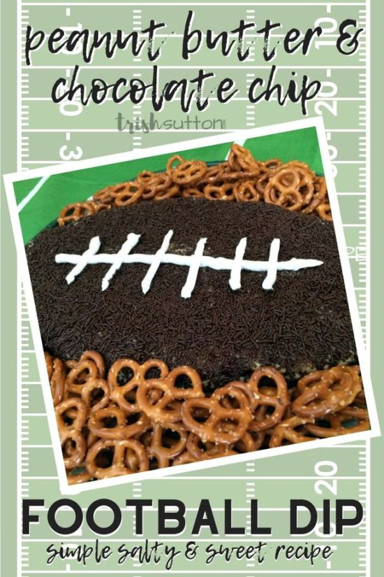 Create a simple salty and sweet football dip for tailgating and football themed parties. This Peanut Butter Chocolate Chip Football Dip Recipe is a crowd pleasing winner! TrishSutton.com