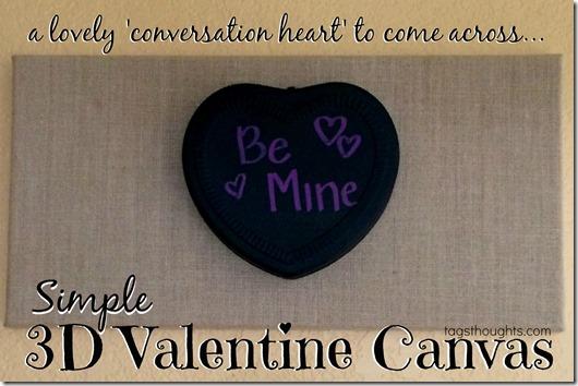 Simple 3D Valentine Canvas by trishsutton.com #conversationheart #valentine #decor #target #onespot
