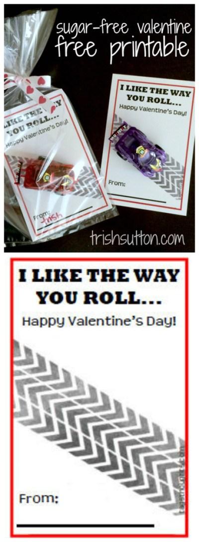 """I Like The Way You Roll"" a Sugar-Free Valentine to share with classmates; Free Printable by TrishSutton.com"