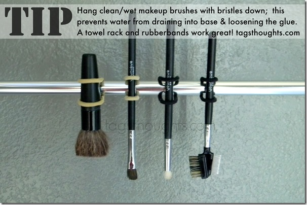DIY Makeup Brush Cleaner made with Baby Shampoo and Olive Oil. The Shampoo is gentle on the bristles & the Olive Oil keeps them soft. TrishSutton.com